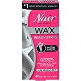 Nair Hair Remover Wax Ready- Strips for Legs & Body, 40 CT (Pack of 3)