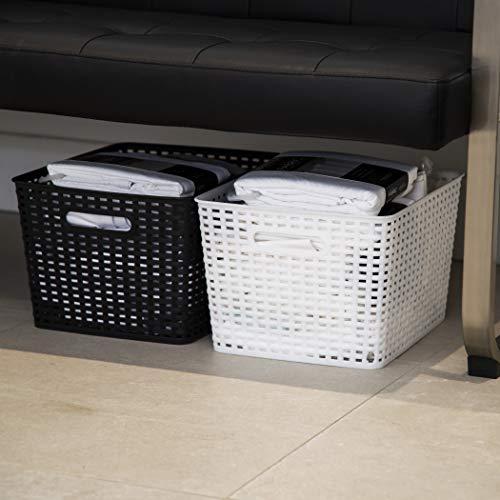 BINO Woven Plastic Storage Basket (White, 3PK-L)