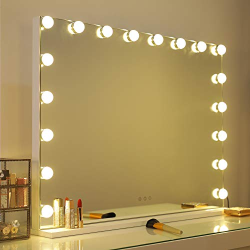 WAYKING Vanity Mirror with Lights, Hollywood Lighted Makeup Mirror with 3 Color Lighting Modes, Touch Sensor and USB Port, Tabletop or Wall-Mounted Mirror, L31.4 X H23.6 inch