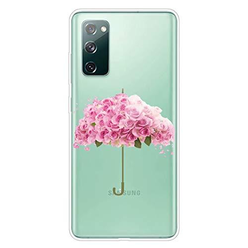 Miagon Transparent Hülle für Samsung Galaxy S20 FE,Rosa Rose Muster Kreativ Süße Durchsichtig Klar Soft Ultra Dünn Silikon Case Cover Schutzabdeckung