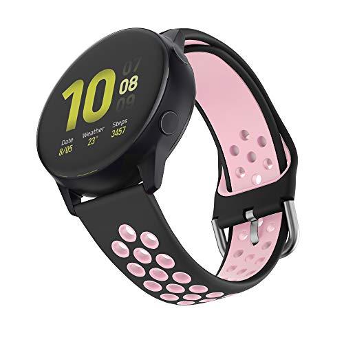 ISABAKE Cinturino per Garmin Vivomove/HR,Garmin Vivoactive 3-20mm Cinturino in Silicone con Sgancio Rapido per Galaxy Watch Active 2 Smartwatch