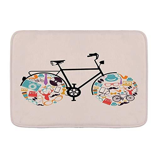 WOTAKA Badematte Teppich,Vehículo de Bicicleta Con ruedas llenas de iconos Hipster pasados de Moda Subcultura Urbana,rutschfeste Verdickung, Gute Absorption, Badematten, Küchenmatten und Teppiche