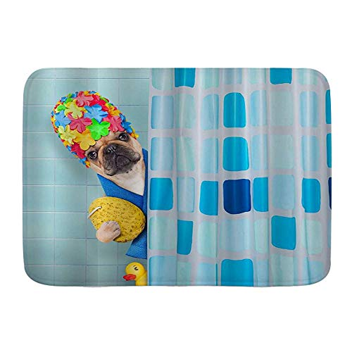 SUDISSKM Bath Mats Rug for Bathroom,French Bulldog Dog in a Bathtub Funny Puppy with Yellow Plastic Duck and Towel Print,Non Slip Watercolor Floor Rugs Doormat Soft Area Carpet Mats Plush Home Mat