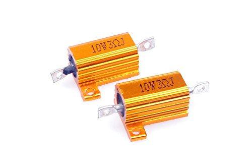 LM YN 10 Watt 3 Ohm 5% Wirewound Resistor Electronic Aluminium Shell Resistor Gold for Inverter LED Lights Frequency Divider Servo Industry Industrial Control 2-Pcs