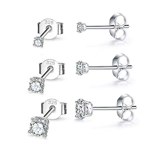 Hypoallergenic Sterling Silver Cubic Zirconia CZ Stud Earrings Set for Womens Mens Girls, 3 Pairs Small Round Simulated Diamond Studs for Cartilage Tragus Multi Piercing Ears 2mm / 3mm / 4mm