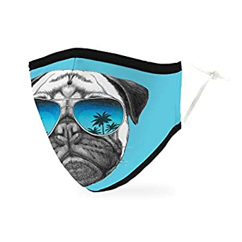 Weddingstar 3-Ply Adult Washable Cloth Face Mask Reusable and Adjustable with Filter Pocket - Shades Pug