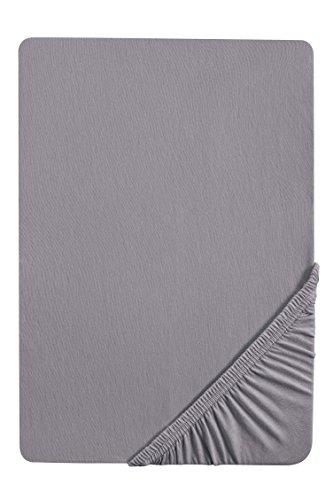 Castell 0077113 Jersey-Stretch Spannbetttuch (Matratzenhöhe max. 22 cm) (Baumwolle) 140x200 cm -> 160x200 cm, silber/grau