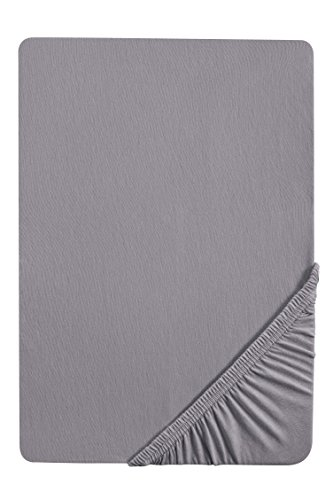 biberna 0077144 Feinjersey Spannbetttuch (Matratzenhöhe max. 22 cm) (Baumwolle) 90x190 cm -> 100x200 cm, silber/grau