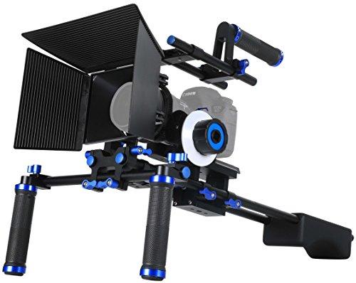 SunSmart Pro DSLR Rig Video Camera Shoulder Mount Kit Including DSLR Rig Shoulder Support, Follow Focus F0, Matte Box M1, Adjustable Platform, Top Handle and C-Shape Support Cage