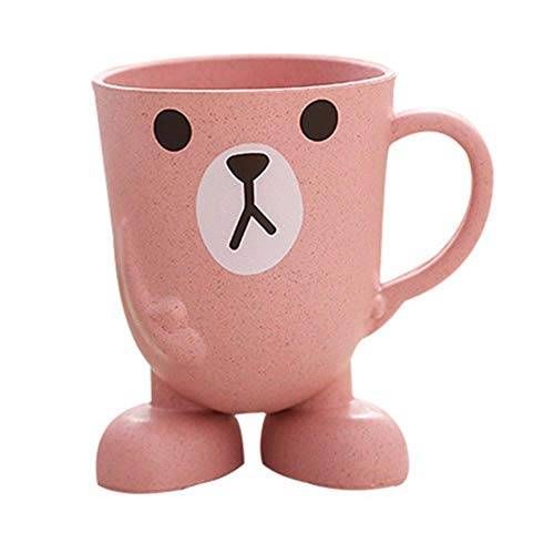 LLAAIT Tarwe Straw Cartoon Dier Tandenborstel Cup Badkamer Mondwater Reizen Thuis Tandenborstel Houder Cup Badkamer Accessoires, Roze