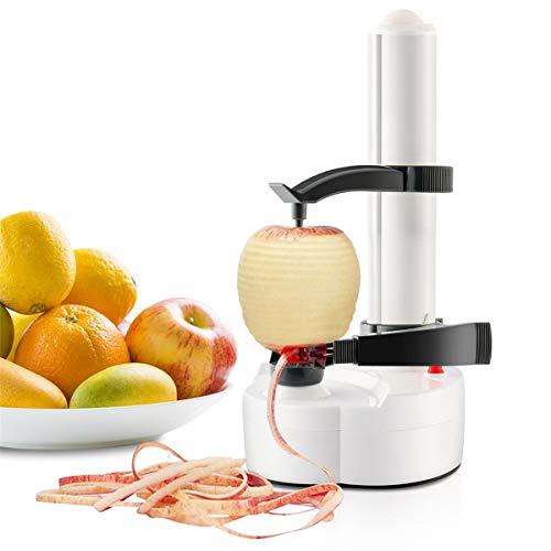 ParaCity Éplucheur électrique rotatif automatique, multifonction, en acier inoxydable, pour pommes, pommes de terre, fruits et légumes, Acier inoxydable, Eplucheur pomme de terre blanc