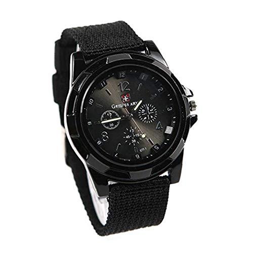 Odoukey Hombres Gemius Reloj Suizo Reloj de Pulsera analógico Digital con Tejido de Nylon Brazalete