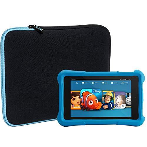 Slabo Tablet Tasche Schutzhülle für Amazon Fire HD 8 Kids Edition (7. Generation - 2017) Hülle Etui Hülle Phablet aus Neopren – TÜRKIS/SCHWARZ