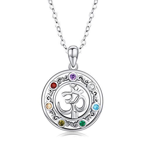 """925 Sterling Silber Aum Om Ohm Chakra Yoga Anhänger Halskette Chakra Schmuck Geschenke für Frauen, Männer Mädchen-18\""""+ 2\"""" Silber Kette"""