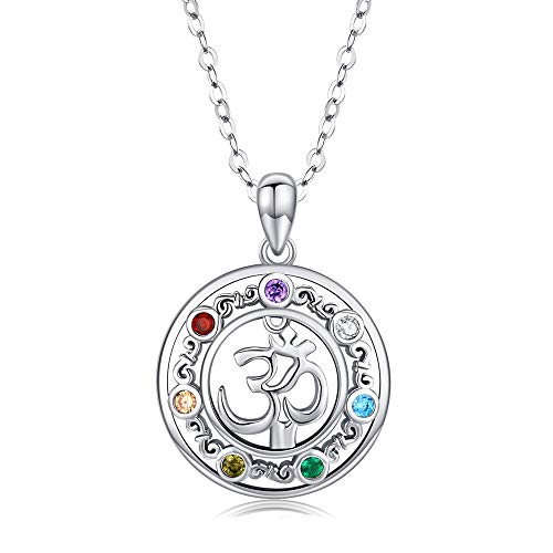 Om Necklace 925 Sterling Silver Aum Om Ohm Chakra Yoga Pendant Necklace Jewellery Gifts for Women, Men Girls- 18' + 2' Silver Chain