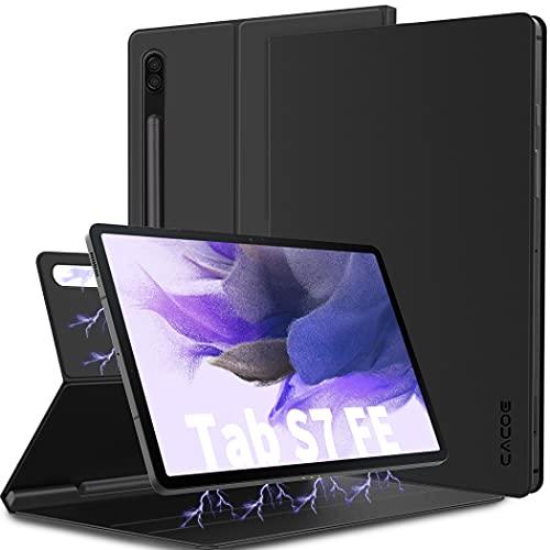 CACOE Custodia Cover Compatibile con Samsung Galaxy Tab S7 FE 12.4 5G 2021/Samsung Galaxy Tab S7+ Plus 12.4 2020, Ultra Sottile con Copertura Magnetica e Portapenna per Tablet Samsung Tab S7 FE, Nero