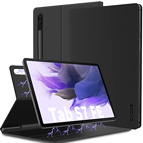 CACOE Funda Compatible con Samsung Galaxy Tab S7 FE 12.4 5G 2021/Samsung Galaxy Tab S7+ Plus 12.4 2020 Funda Ultrafina con Tapa Magnética Inteligente y Soporte para Tablet Samsung ab S7 FE 12.4, Negro
