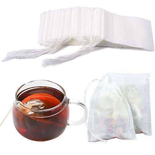 Teebeutel, leere Papier-Teefilterbeutel, Einweg-Teesieb mit Kordelzug, 100 Stück, lose Teebeutel, Kräuterfilterbeutel für losen Tee und Kaffee, 5,5 x 7 cm