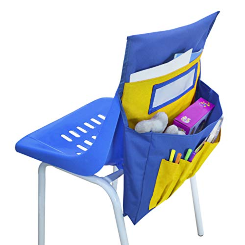Multifunction Chair Back Pocket Chart Classroom Seat Organizer with Name Tag Slot Seat Pouch Bag Chair Pocket Seat Sack for School Daycare Home Dorm Hospital
