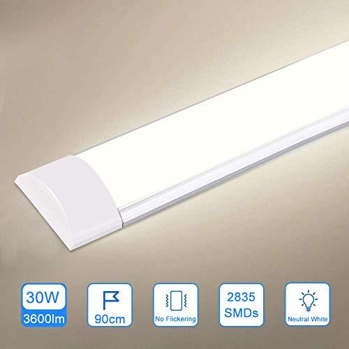 30W LED Deckenleucht Röhre 90CM,LED Feuchtraumleuchte Naturweiß 4000K,3600LM 130°Abstrahlwinkel für Badzimmer Wohnzimmer Küche Garage Lager Werkstatt