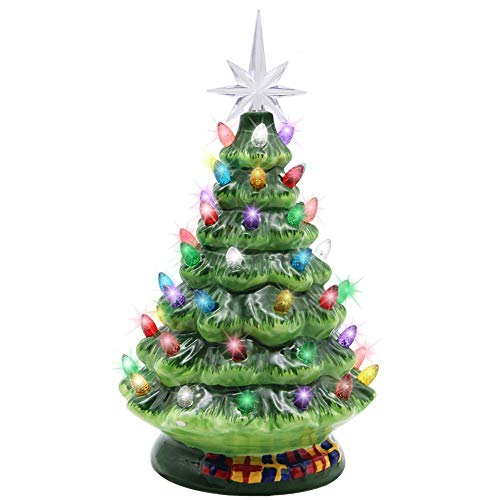 Blissun 10' Ceramic Christmas Tree, Tabletop Christmas Tree Lights Decorations with 54 Multicolored Lights and 7 Point Star Topper for Christmas Table Decorations