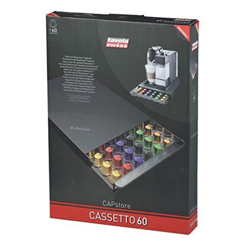 Tavola Cassetto 60 - Dispensador para 60 cápsulas Nespresso, de plástico, 39 x 28 x 4.5 cm