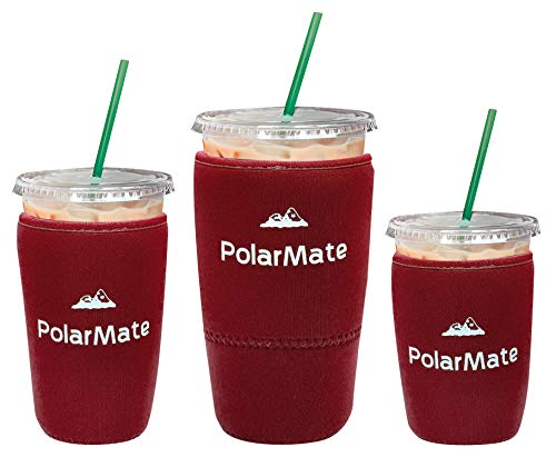 3 Pack Reusable Iced Coffee Sleeve | Insulator Cup Sleeve for Cold Drinks Beverages | Neoprene Cup Holder | Ideal for Starbucks, McDonalds, Dunkin Donuts & More (Burgundy)