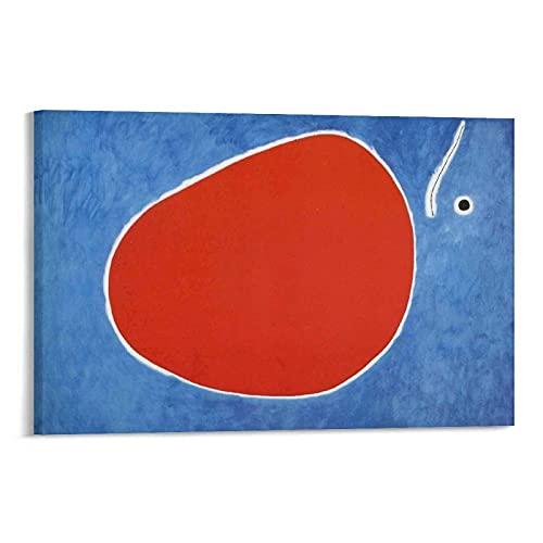 EMIP Joan Miro Trollsländans flyg framför solen målning på duk väggkonst affisch rullning bildtryck vardagsrum väggar dekor hem affischer 30 × 45 cm (12 × 18 tum)