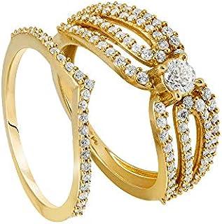 Pure Gold Jewellers Women's 18K Gold FPC Eye Bridal Diamond Ring