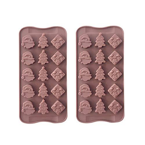Amosfun 2 Stücke Weihnachten Silikonform Weihnachtsmann Schleife und Weihnachtsbaum Backform Silikon Schokoladenform Kuchenform Süßigkeiten Formen für Eiswürfel Kekse(15 Gitter)