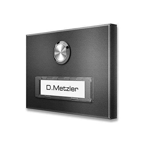 Metzler Aufputz Türklingel aus Edelstahl mit austauschbarem Namensschild (DB 703)