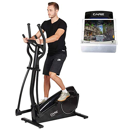CARE FITNESS - Vélo Elliptique d'Appartement ELLINIUM - Vélo Elliptique Bluetooth - Compatible Application MyCare Fit - 24 Programmes - 7 Fonctions - Masse d'Inertie 14 kg - Vélo Appartement Care