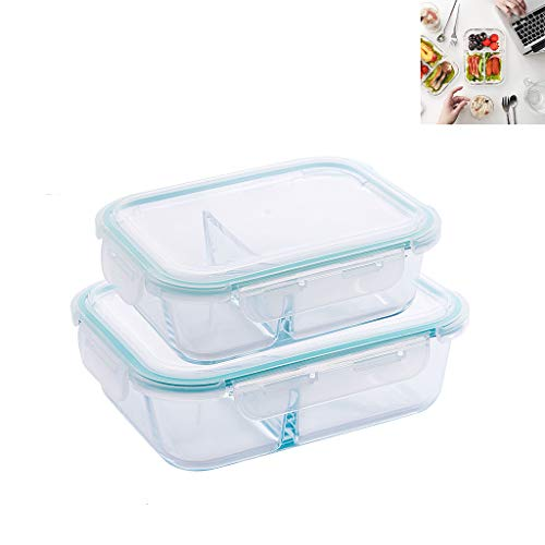 Glass Food Storage Containers Set, 2 Pack Meal Prep Containers with Lids, Airtight Glass Lunch Bento Boxes, BPA-Free & Leak Proof