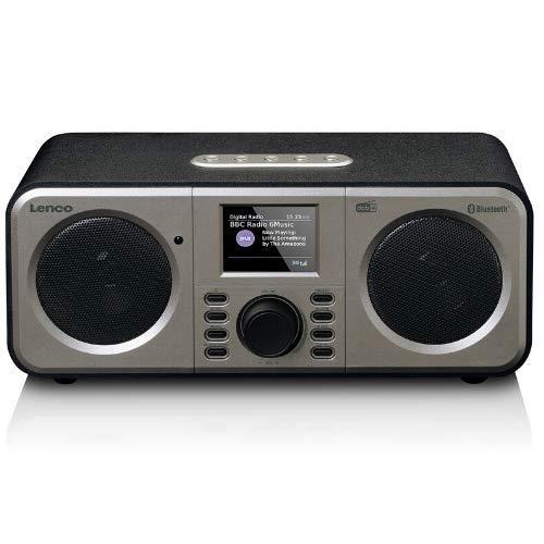 Lenco DAR-030 - Radio DAB+ + + Bluetooth V.5 - Ricevitore DAB+ e FM - 10 stazioni memorizzabili - 2 x 3 Watt RMS - Telecomando - Funzione allarme - Nero