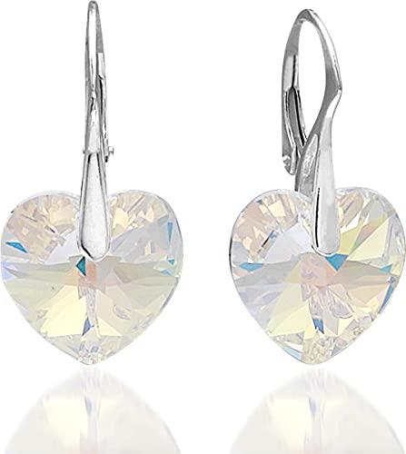 Montebello Kolby - Pendientes de plata 925 con cristales Swarovski en forma de corazón, 30 x 14 mm