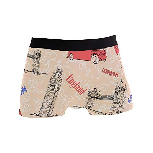 Linomo Herren Boxershorts UK England London Symbol Unterhosen Männer Herren Unterwäsche für Männer