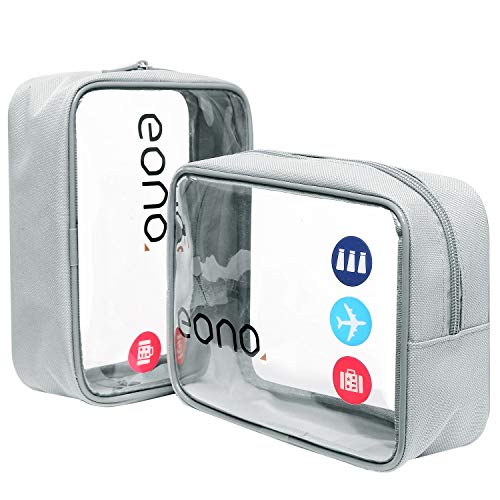 Eono by Amazon - Clear Toiletry Bag Waterproof Toiletry Travel Bag Clear PVC Zippered Cosmetic Bag Cosmetic Makeup Bag Clear Wash Bag Toiletry Organizer for Travel Men and Women, Grey, 2 Pack