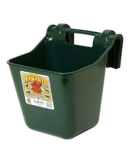 Little Giant Plastic Hook Over Feeder (Green) Heavy Duty Mountable Livestock & Pet Feed Bucket...
