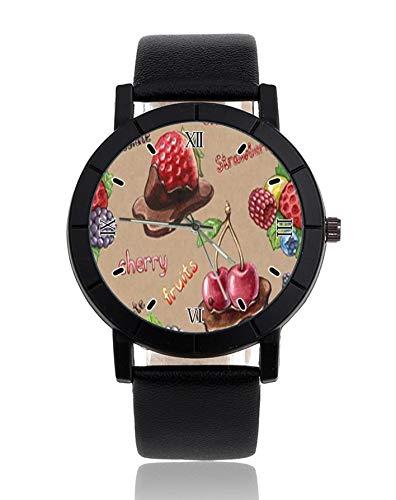 Orologio da polso personalizzato, con immagine di fragola, cioccolato, crema, ciliegia, alla moda, cinturino in pelle, orologio casual da donna