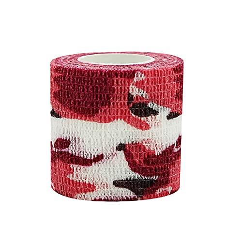 D-Rings Kamouflage fixeringstejp självhäftande, 5 cm x 4,5 m elastisk bandage självhäftande bandage kohesive bandage sport skada första hjälpen förband (A5)