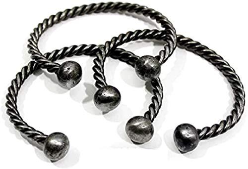 Pulsera de hierro trenzado forjado a mano – Viking/Norse/Celtic/Medieval/Torc/Jewelry – Juego de 3