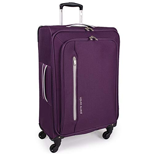 Soft Shell 27 Inch Suitcase with x4 Spinner Wheels - Cion Soft Case by Pierre Cardin | Durable & Quality Tested Soft Sided Luggage | Light 2.5 Kg 69cm 71 litres Capacity (Medium, Purple & Light Grey)