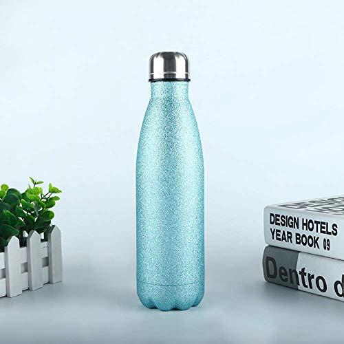 N\C Botellas de agua de deporte de 500 ml de doble pared termo aislado al vacío botellas de agua de acero inoxidable gimnasio deportes termosos taza-color azul