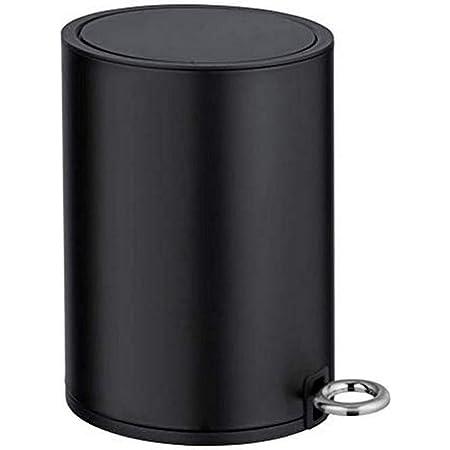 WENKO Poubelle à pédale Monza Easy-Close Noir mat - Poubelle cosmétique, poubelle avec système d'abaissement automatique Capacité: 3 l, Acier, 18.5 x 25.5 x 24.5 cm, Noir