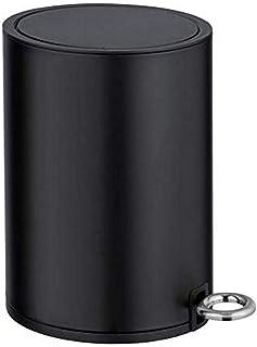WENKO Poubelle à pédale Monza Easy-Close Noir mat - Poubelle cosmétique, poubelle avec système d'abaissement automatique C...