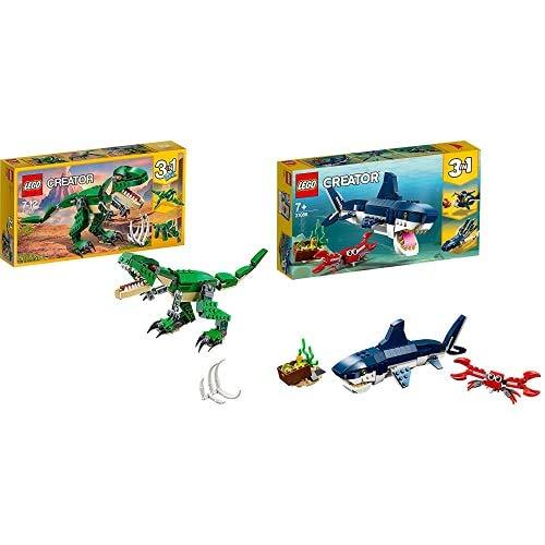 Lego Creator Tirannosauro 3 In 1 Set Di Costruzioni Per Creare Tre Diversi Dinosauri Per Bambini 7-12 Anni, 31058 & Creator, Creature Degli Abissi, 31088