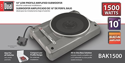 Dual Electronics BAK1500 10 inch Compact Low Profile Amplified Subwoofer with 1,500 Watts of Peak Power & Remote Subwoofer Control