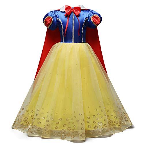 Eleasica Vestido de Blancanieves para Nias Fiesta de Gala Baile Celebracion Cumpleaos Cosplay Princesa Blanca Nieves para Carnaval Halloween Salon de Manga Disfraz Reina Blancanieve