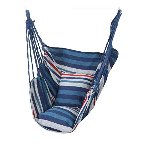 dehong XXL Pod Chair with Pillow + Tie Rope,100x130cm (Load Capacity 200 kg) Blue And White Stripes Swings For Garden for Home Garden Folding Hanging Hammock Seat Indoor and Outdoor