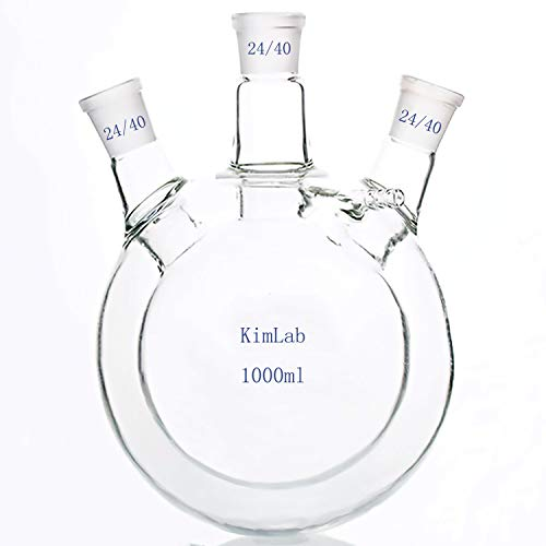 DONLAB CFJ-1000 Glass 1000ml/1L Jacketed Reaction Flask Double Layer Spherical Reaction Flask Full Wrapped with Three 24/40 Ground Glass Joints